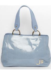 Bolsa Em Couro Snake- Azul Claro- 28X50X13Cmjorge Bischoff