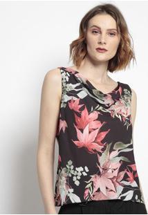 Blusa Floral Com Drapeado- Preta & Vermelha- Tvztvz