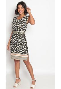 Vestido Mídi Floral Com Cinto- Preto & Branco- Vip Rvip Reserva