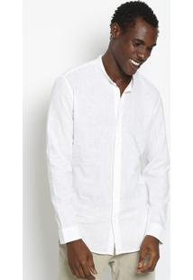 Camisa Gola Mao Em Linho - Off Whiteosklen