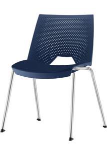 Cadeira Strike Assento Azul Base Cromada - 54064 - Sun House