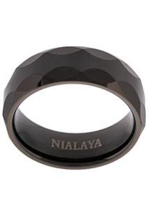 Nialaya Jewelry Anel Geométrico - Preto