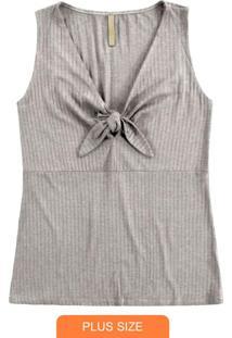 Blusa Malha Canelado Traxy Cinza