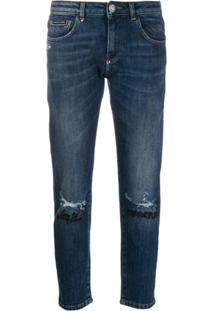 Philipp Plein Calça Jeans Reta Com Bordado - Azul