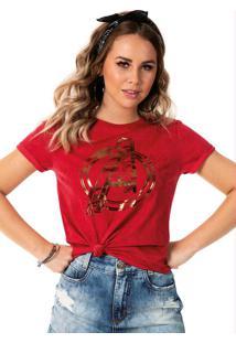 Blusa Com Estampa Com Fóil Vermelho Marvel
