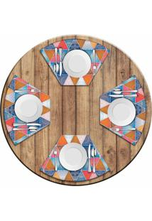Jogo Americano Love Decor Para Mesa Redonda Wevans Abstract Mandalas Kit Com 4 Pçs