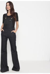 Macacão Jeans Flare Com Bolsos - Azul Escuro - Ellusellus