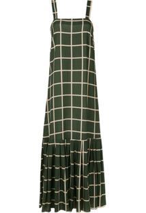 1963923955 ... Adriana Degreas Vestido Longo Quadriculado - Verde