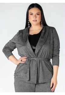 Cardigan Plus Size Prata Com Amarração
