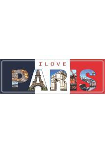 Placa Decorativa I Love Paris 10X30 Cm Preto