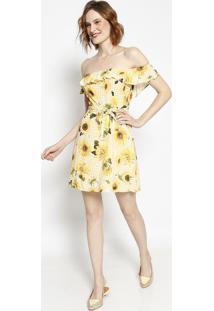 Vestido Ciganinha Com Babados - Amarelo & Verdelez A Lez