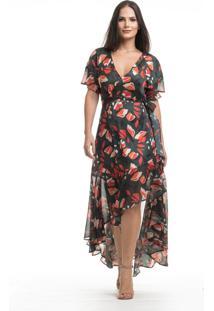 Vestido Clara Arruda Longo Transpasse Festa 50465 Multicolorido