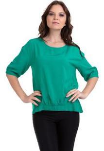 Blusa Viscose Lisa Com Elástico Feminina - Feminino-Verde