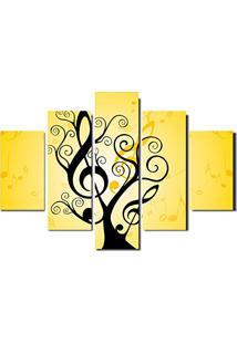 Quadro Painel Mosaico Decorativo 5 Partes Arvore De Musica