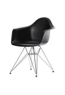 Cadeira Eames Com Braco Base Cromada Preto Fosco - 16532 Branco Base Cromada Preto Fosco