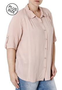 ... Camisa Manga Curta Plus Size Feminina Rosa 7cc7f7f67537b