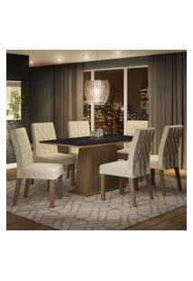 Conjunto Sala De Jantar Madesa Daniela Mesa Tampo De Madeira Com 6 Cadeiras Rustic/Preto/Imperial Rustic