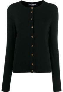 Dolce & Gabbana Logo Buttons Cardigan - Preto