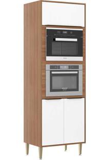Armário De Cozinha 3 Portas Para Forno De Embutir 5404Mf Nogueira/Branco - Multimóveis