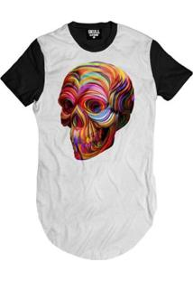 Camiseta Longline Caveira Color Masculina - Masculino