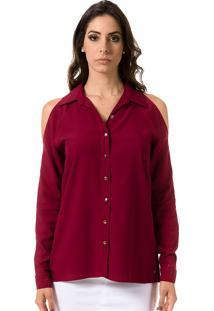 Camisa Bloom Lisa Com Ombros Vazados Bordô