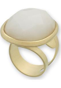 Anel Banho Em Ouro 18K Grande Oval Com Pedra Natural Lapidada Branca