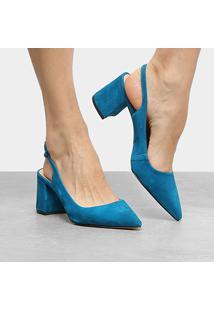 Scarpin Couro Luiza Barcelos Salto Grosso Chanel Salermo - Feminino-Azul Turquesa