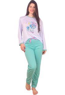 Pijama Inverno Vip Lingerie Unicórnio Verde