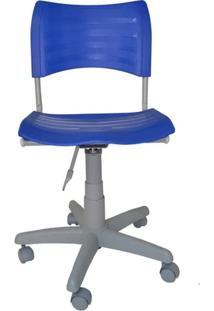 Cadeira Giratória Iso Plástica Base Cinza - Azul