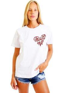 Camiseta Joss Estampada Logo Trust No One Feminina - Feminino-Branco