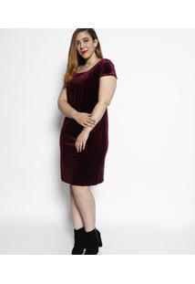 Vestido Acetinado Em Veludo- Vinho- Cotton Colors Excotton Colors Extra