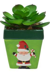 Vaso Papai Noel Com Planta- Verde & Vermelho- 12X8,5Mabruk