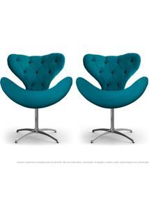Kit De 02 Cadeiras Decorativas Poltronas Egg Com Capitonê Azul Turquesa Com Base Giratória