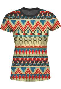 Camiseta Estampada Baby Look Over Fame Tribal Africana Multicolorida