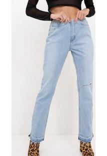Calça Reta Jeans Sem Cós