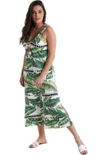 Macacão Líquido Pantacourt Decote V Maya Feminino - Feminino-Verde