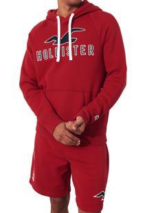Blusa De Moletom Hollister Clássica Vermelha
