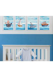 Conjunto Com 4 Quadros Decorativos Navegação Branco