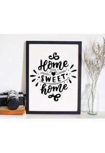 Quadro Decorativo Com Moldura Home Sweet Home Preto