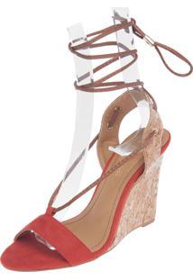Sandália Dafiti Shoes Anabela Amarração Laranja