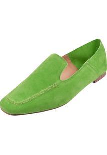 Sapato Loafer Bico Quadrado Dona Madame Verde Claro