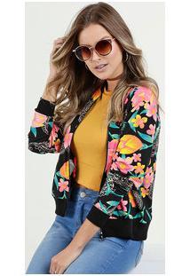 Jaqueta Feminina Bomber Estampa Floral Marisa