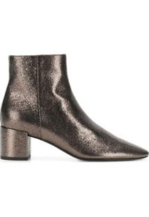 Saint Laurent Metallic Ankle Boots - Metálico