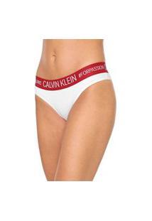 Calcinha Calvin Klein Underwear Tanga Reveillon Branca/Rosa