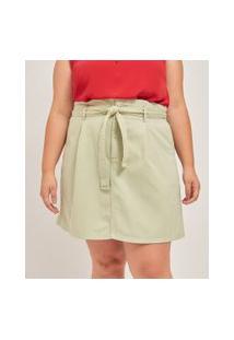 Saia Evasê Lisa Em Sarja Com Amarração Curve & Plus Size | Ashua Curve E Plus Size | Verde | 54