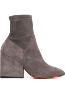 Santoni Chunky Heel Ankle Boots - Cinza