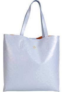 Bolsa Capodarte Tote - Shopper Monograma Plaquinha Feminina - Feminino-Azul Claro