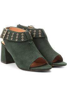Ankle Boot Couro Mezzo Punto Salto Bloco - Feminino-Verde