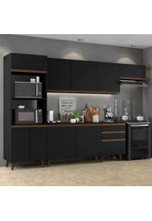 Cozinha Completa Madesa Reims 320001 Com Armário E Balcão - Preto
