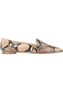 Aeyde Pointed Snakeskin Effect Flat Shoes - Marrom